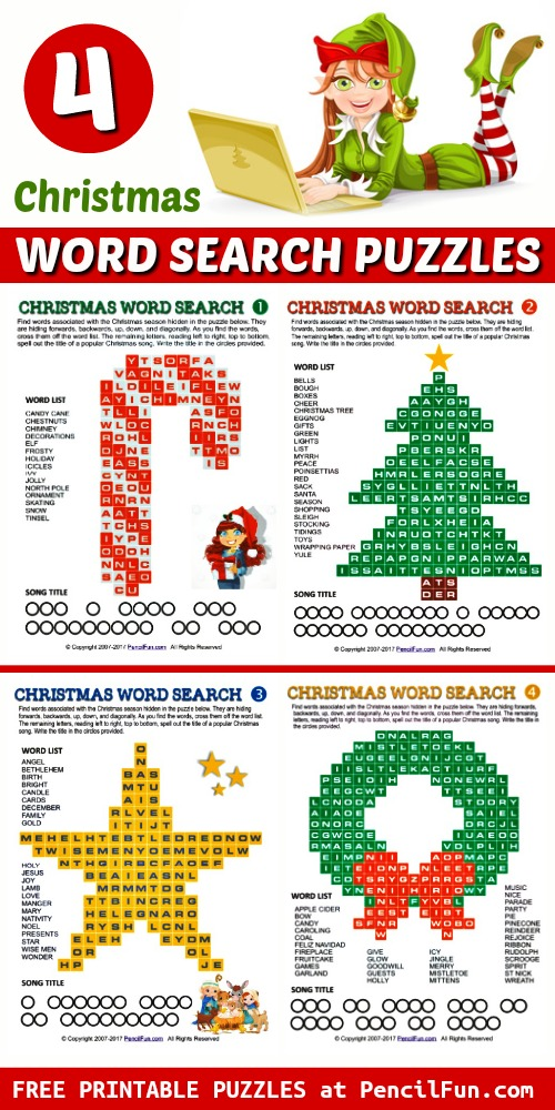 4 Printable Christmas Word Search Puzzles
