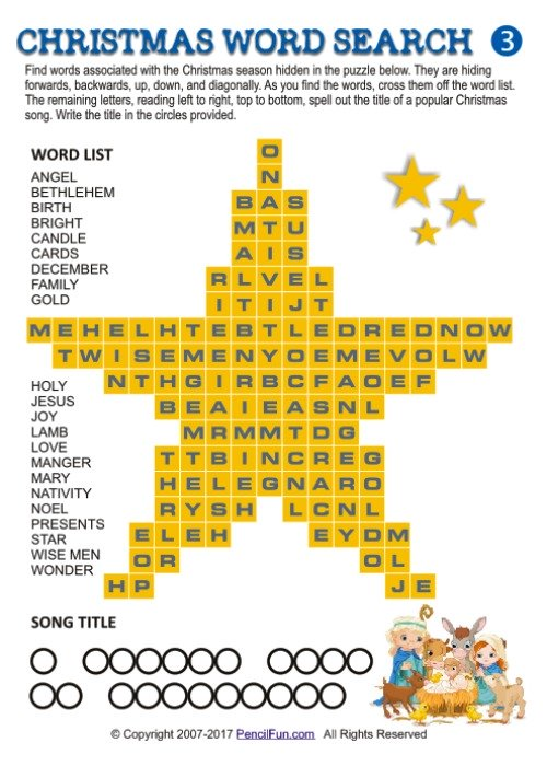Christmas Star Shaped Christmas Word Search Puzzle