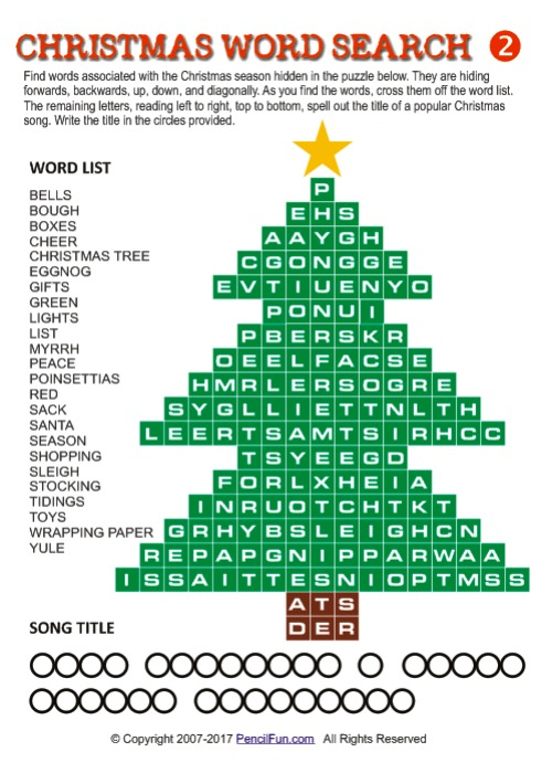 Christmas Tree Shaped Christmas Word Search Puzzle