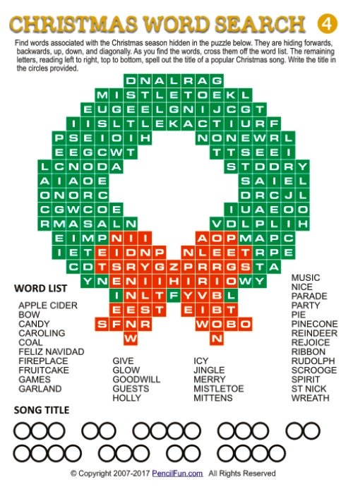 Wreath Shaped Christmas Word Search Puzzle